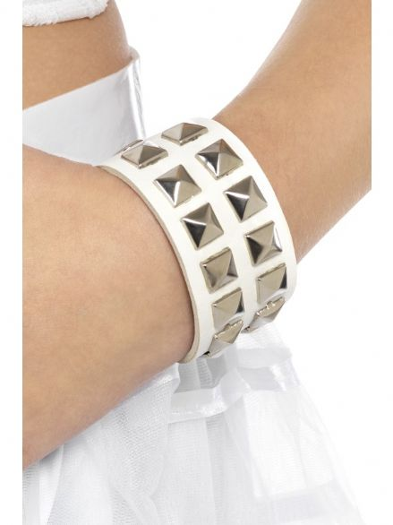 1980's Studded Punk Wristband White